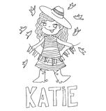 The simple outline drawing for coloring with the image of children of different name characters and education Royalty Free Stock Photography