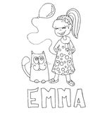 The simple outline drawing for coloring with the image of children of different name characters and education Stock Photo