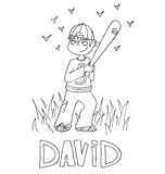 The simple outline drawing for coloring with the image of children of different name characters and education Royalty Free Stock Photo
