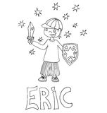 The simple outline drawing for coloring with the image of children of different name characters and education Royalty Free Stock Image