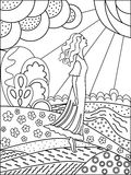 Simple outline drawing for coloring. Woman and Nature. Royalty Free Stock Images
