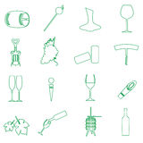 Simple outline wine vector icons set Stock Images