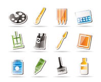 Simple Painter, Drawing And Painting Icons Stock Photo