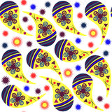 Simple Paisley seamless pattern in yellow, blue, bordo, orange Stock Photography