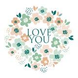 Simple pale color floral decorative design Stock Image