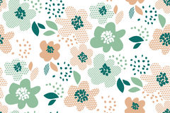 Simple pale color floral decorative seamless pattern Stock Images