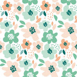Simple pale color floral decorative seamless pattern Royalty Free Stock Photos