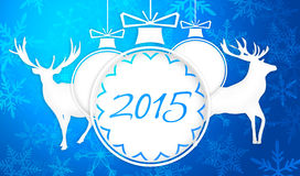 Simple Paper Art 2015 Ornament Decorative Blue Background Stock Photography