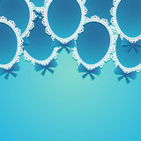 Simple Paper Balloons with Lace and Bows on a Blue Royalty Free Stock Photos