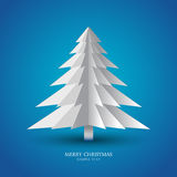 Simple paper christmas tree. Greeting card christmas tree made from pieces of paper vector illustration