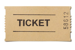 Simple paper ticket isolated. On white Royalty Free Stock Photo