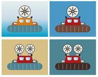 Simple Passenger hovercraft on sea background. Vector illustration Royalty Free Stock Images
