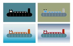 Simple Passenger hovercraft on sea background. Vector illustration Stock Photography