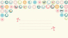 Simple pastel color spring card with hearts Stock Image