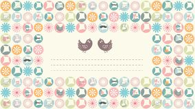 Simple pastel color spring card with pair of birds Royalty Free Stock Image