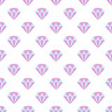 Simple pastel colored diamond crystals on white seamless pattern, vector royalty free illustration