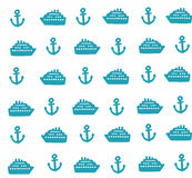 Simple pattern with anchors and ships. Vector seamless background Royalty Free Stock Photography