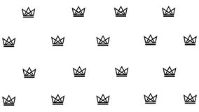 Simple pattern with black crowns. On white background. Vector illustration Stock Photos
