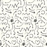 Simple pattern with cute doodle hand drawn arrows Royalty Free Stock Images
