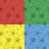 4 simple pattern of flowers and leaves. On the red, green, yellow and blue background Stock Images