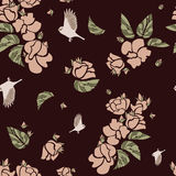 Simple pattern of roses and hearts Stock Images