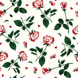 Simple pattern of roses and hearts Royalty Free Stock Images