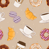 A simple pattern. Seamless background with the image of breakfast. Vector illustration. Stock Images