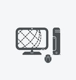 Simple PC icon on white background. Simple PC icon. eps8. Royalty Free Stock Photos