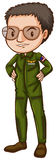A simple pilot in green uniform Royalty Free Stock Photography