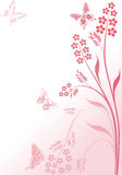Simple pink flowers and butterflies Stock Photo