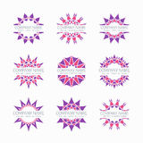 Simple pink geometric abstract symmetric shapes. Set. Modern business icon collection. Logo template. Hexagon round ornament. Vector symbols, emblems, element Stock Photo