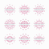 Simple pink geometric abstract symmetric shapes. Set. Modern business icon collection. Logo template. Hexagon round ornament. Vector symbols, emblems, element Royalty Free Stock Photography