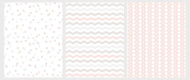 Abstract Seamless Geometric Patterns  with Pastel Color Chevron and Dots on a White Background. royalty free illustration