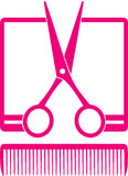 Simple hairdresser icon with scissors and comb stock images