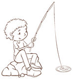 A simple plain sketch of a boy fishing Stock Photos