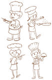 Simple plain sketches of the chefs Stock Photo