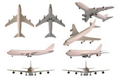 Simple plane collection. With wheels - without windows - 8 angles Stock Photo