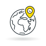 Simple planet icon with yellow gps location pin sign Stock Photos
