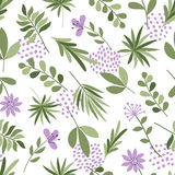 Simple plants pattern. Seamless cute background with flowers and dots. Vector illustration. Template for fashion prints. Stock Images