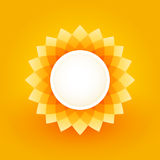 Simple plate with sunflower motif. On orange background Stock Photography