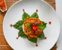 Vietnamese pork dinner with decorative leaves, flowers, seeds, r. A simple plated Vietnamese dinner of spicy pork with sesame seeds arranged atop a disk of rice Royalty Free Stock Image
