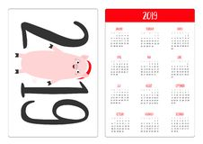 Simple pocket calendar layout 2019 new year. Week starts Sunday. Cute pig piggy. Santa red hat. Cartoon smiling character. stock illustration