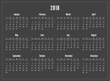 Simple pocket calendar 2018 year on black  Background. Week starts from sunday. Portrait orientation. Stationery Design Template. 12 Months Stock Photos