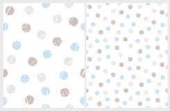 Simple Polka Dots Vector Patterns. Blue and Brown Marble Circles Isolated on a White. vector illustration