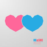 Simple polygonal hearts icon. Symbol of man and woman isolated on gray background Royalty Free Stock Photography
