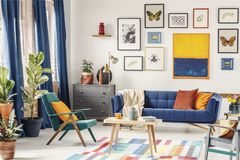 Simple posters hanging on the wall in bright living room interior with blue curtains, coffee table placed on colorful. Carpet, green armchair and navy couch royalty free stock photos