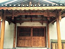 Simple and practical wooden architecture. The whole building does not use a nail is all ancient Chinese architectural style, seismic effect is best royalty free stock images
