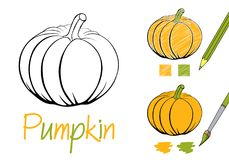 Simple pumpkin black and white vector illustration for children and adults. Coloring page for the book. Examples of stock photography