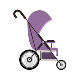 Simple purple baby carriage with layette Royalty Free Stock Images