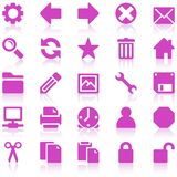 Simple purplee web icon set. Simple purple/pink web icons with subtle reflections, on white background Stock Images